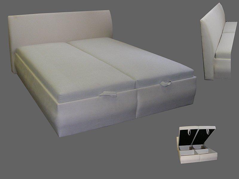 Dvoulůžko s čelem čalouněná postel s úložným prostorem SLEVA AKCE