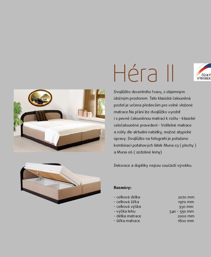 HÉRA II čalouněné dvojlůžko postel s úložným prostorem