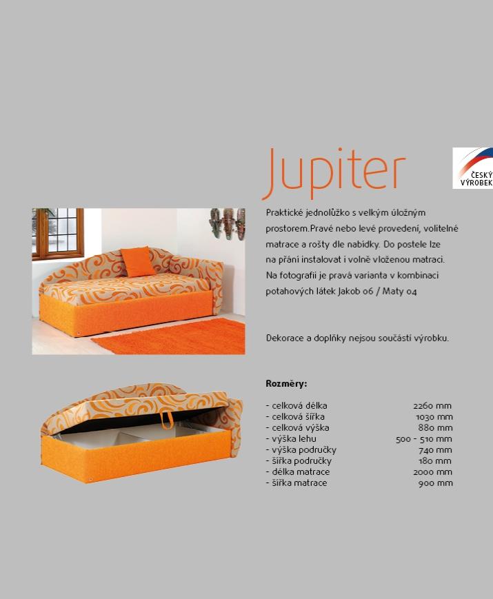 JUPITER jednolůžková postel s úložným prostorem AKCE SLEVA 15%