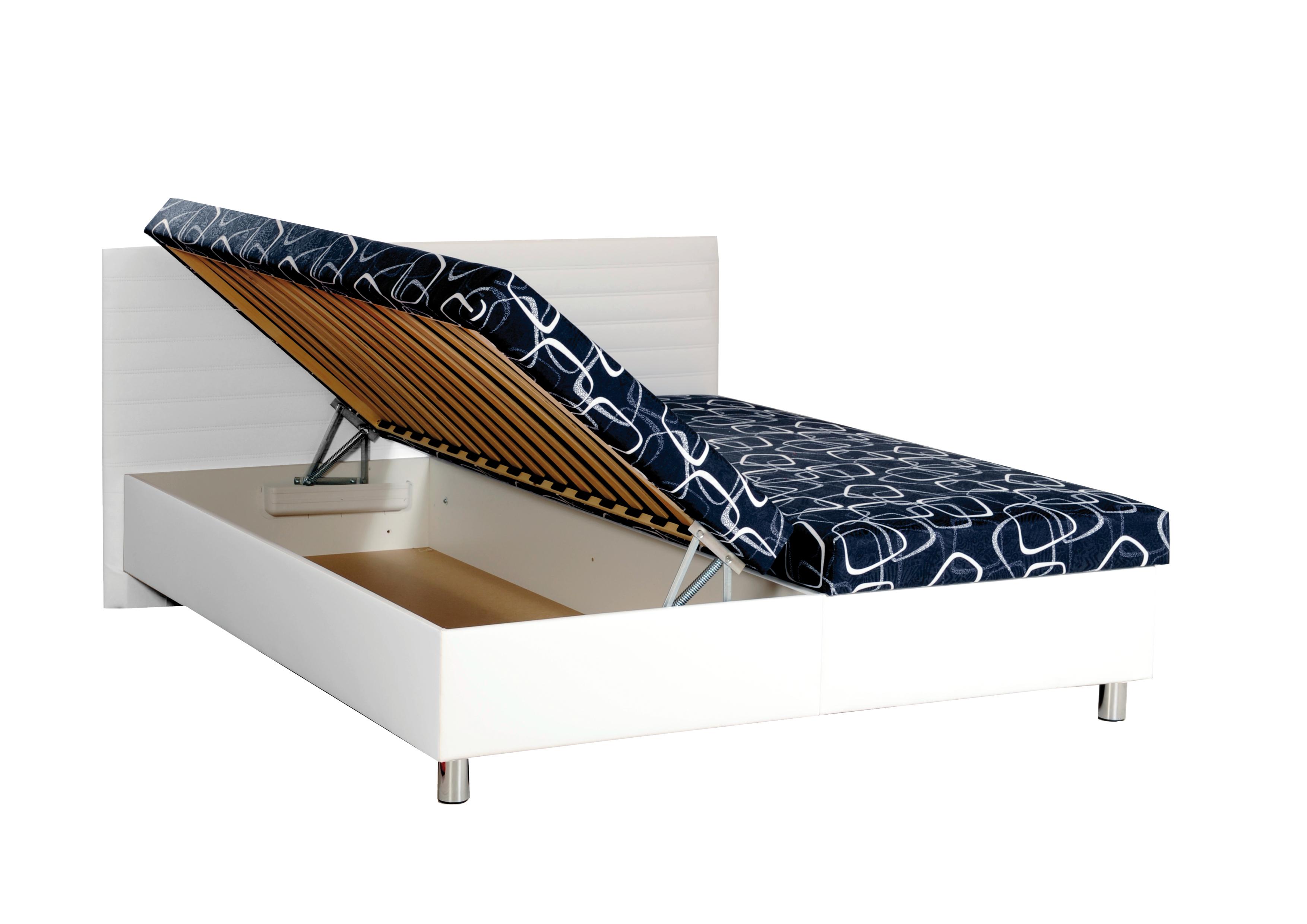 KRIOS dvoulůžková čalouněná postel s úložným prostorem