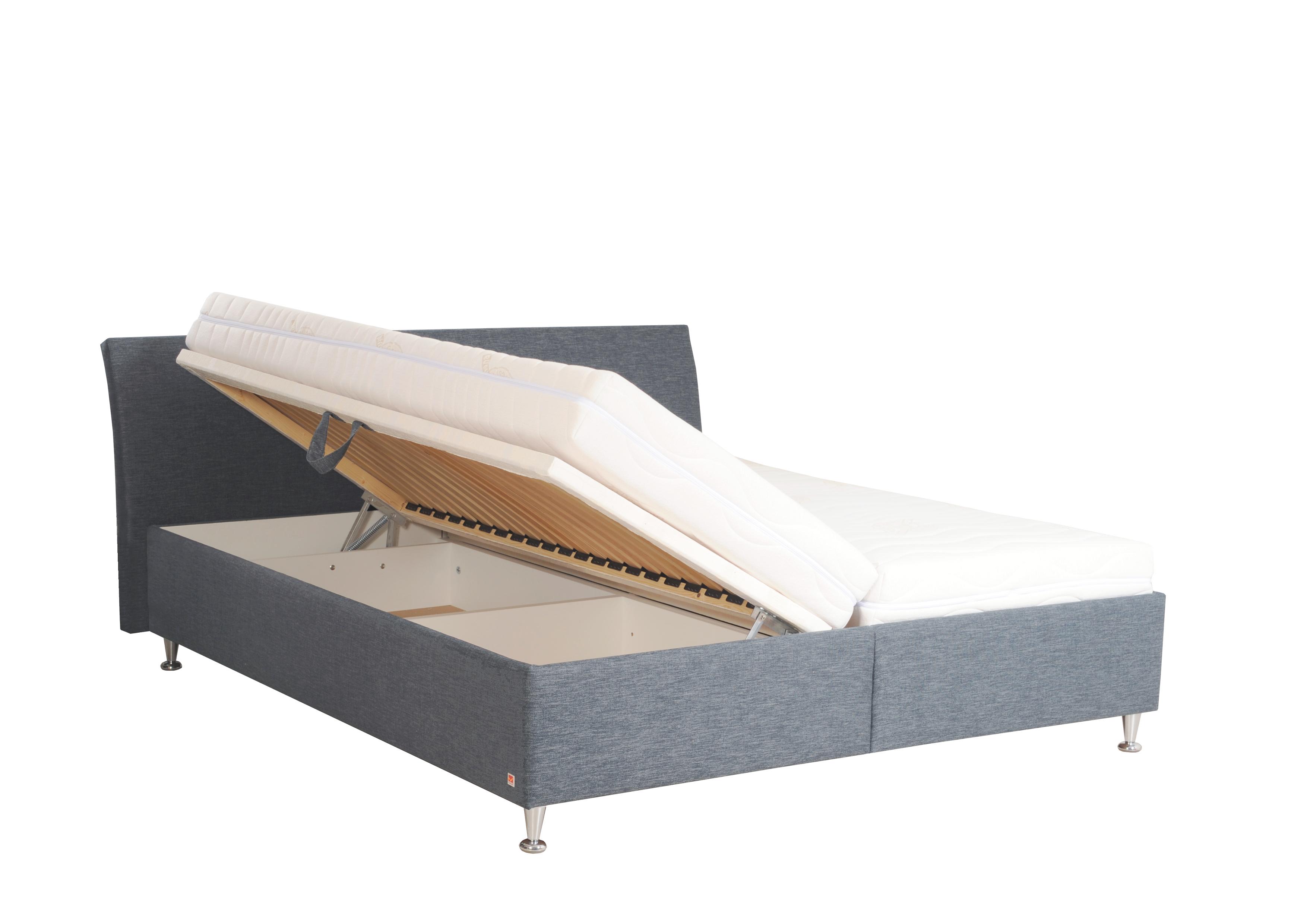 MINOS dvoulůžková čalouněná postel s úložným prostorem