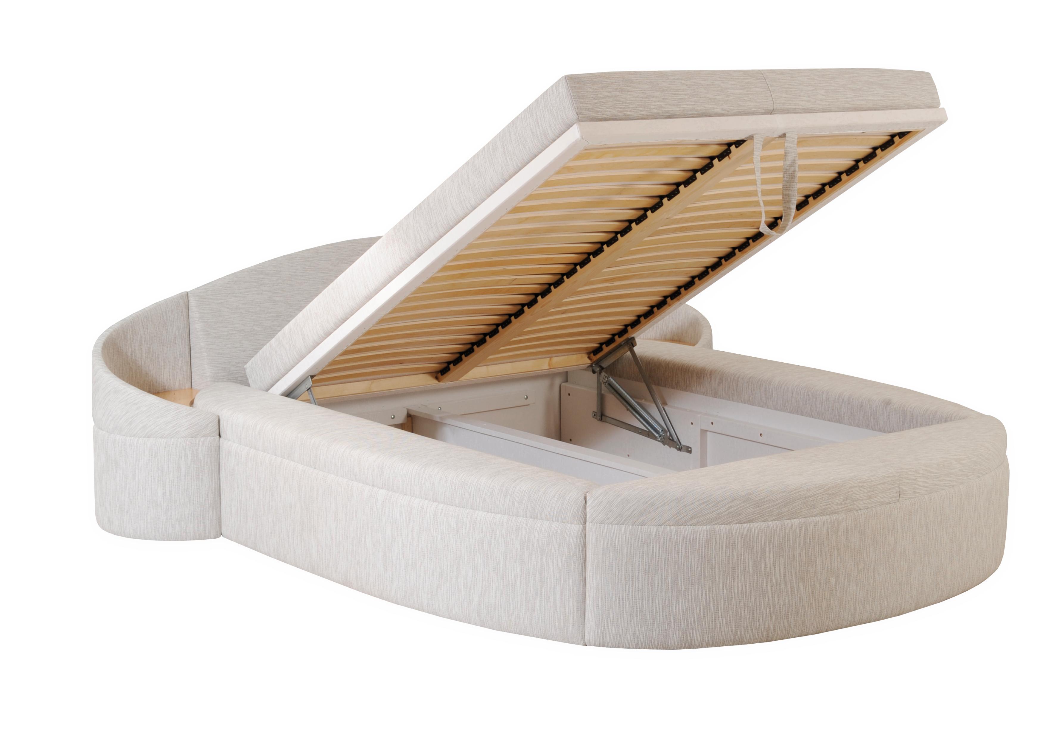 POSEIDÓN II čalouněná kulatá postel s úložným prostorem