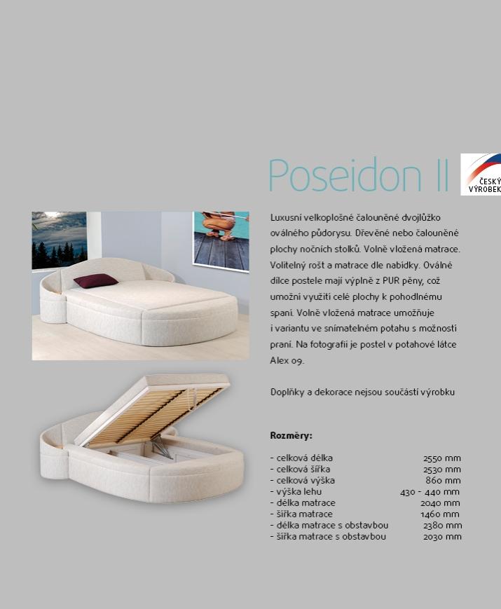 POSEIDON II čalouněné velkoplošné dvojlůžko postel s úložným prostorem AKCE SLEVA 20%