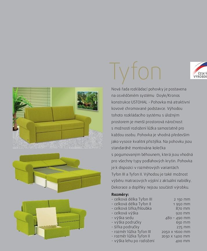 TYFON II čalouněná rozkládací pohovka s úložným prostorem