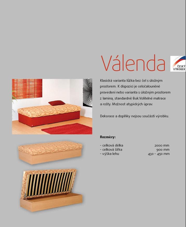 VÁLENDA z lamina jednolůžková čalouněná postel