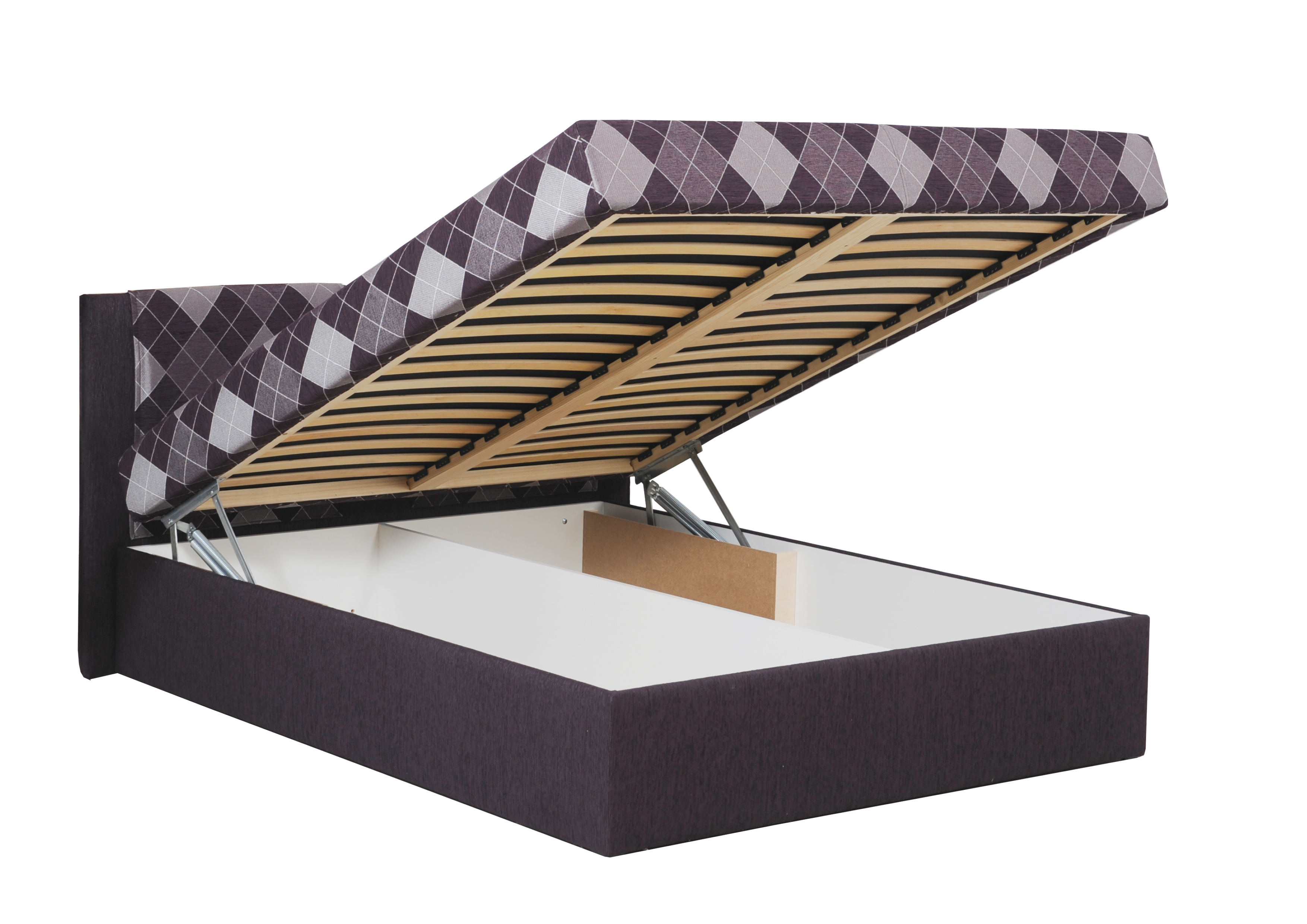 VESTA dvoulůžková čalouněná postel s úložným prostorem